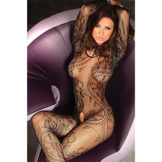 Dessous fishnet crotchless bodystocking sexy