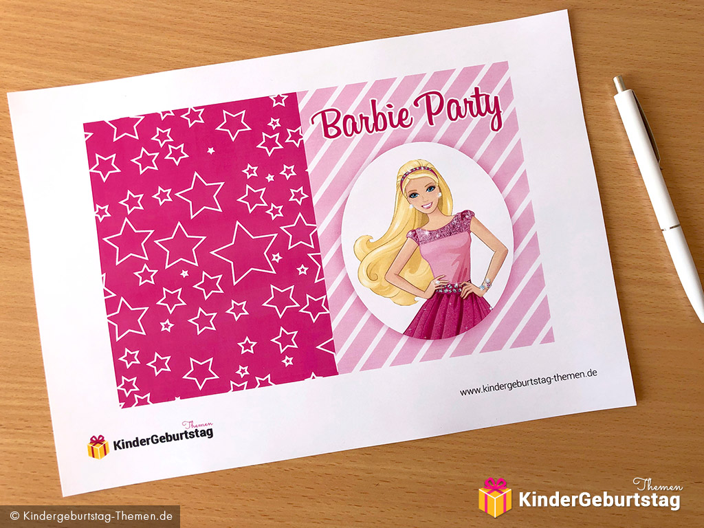 Geburtstag barbie kostenlose party einladungen druckbare