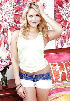 Jeans enge kurze blonde blaue