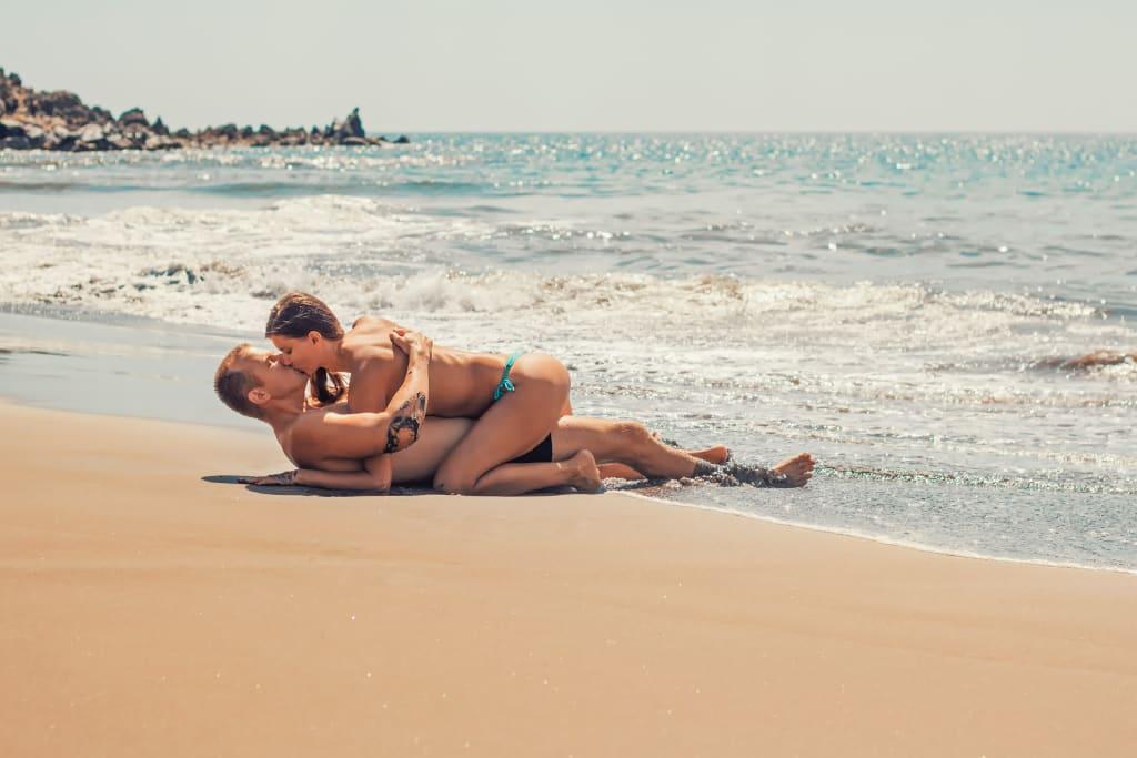 Beach the having girls on sex