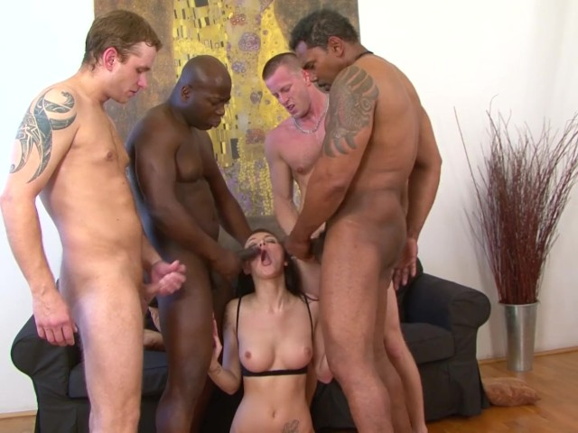 Girl gang bang black white