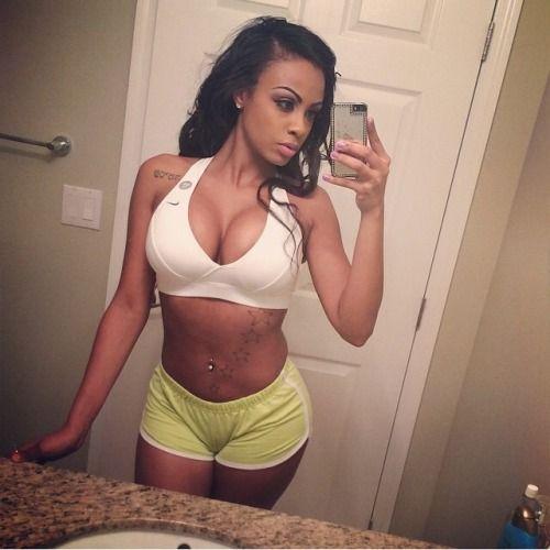 Girl ebony shorts selfie booty black